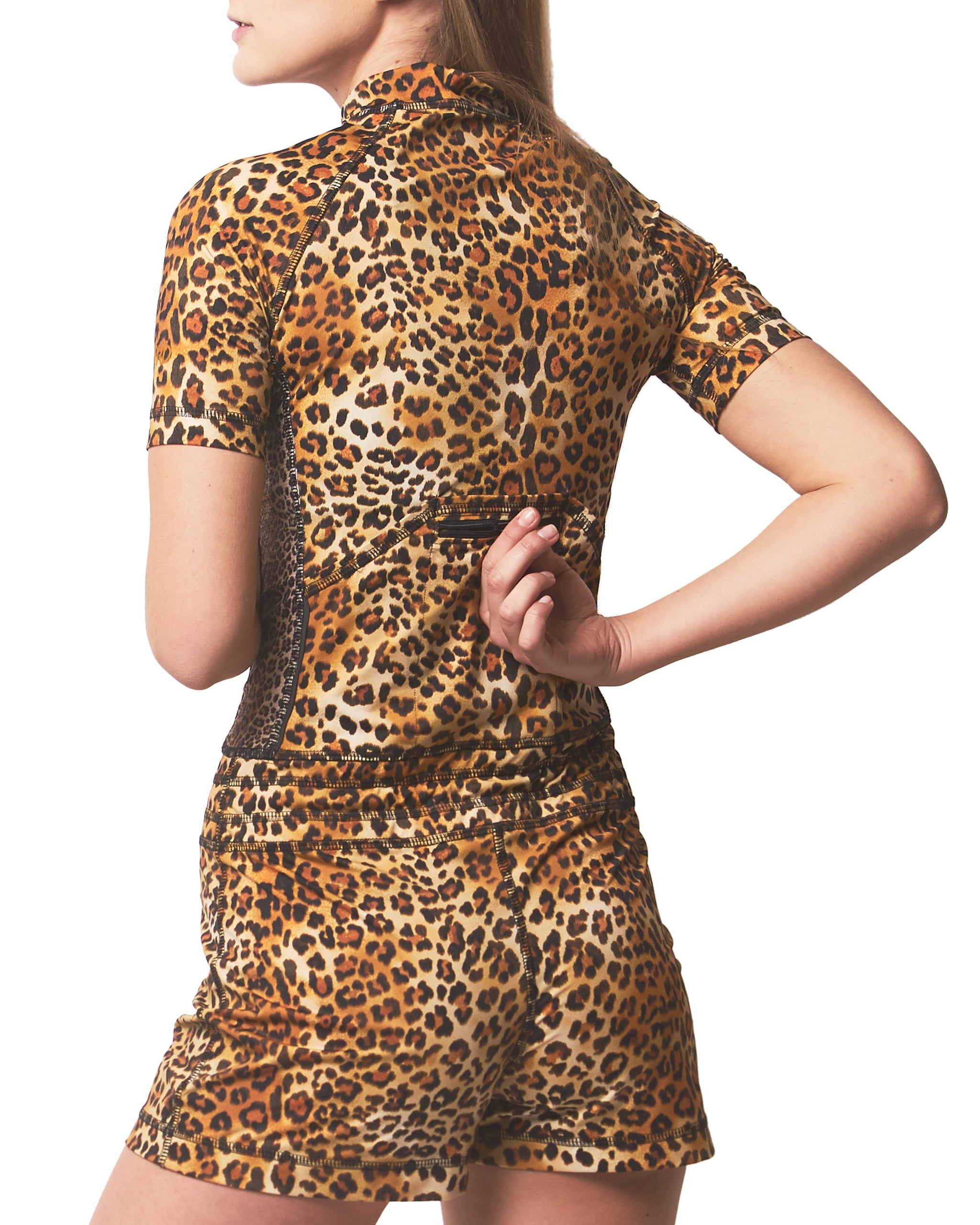 LPRD Signature Leopard Onesie Jumpsuit | Pocket Detail
