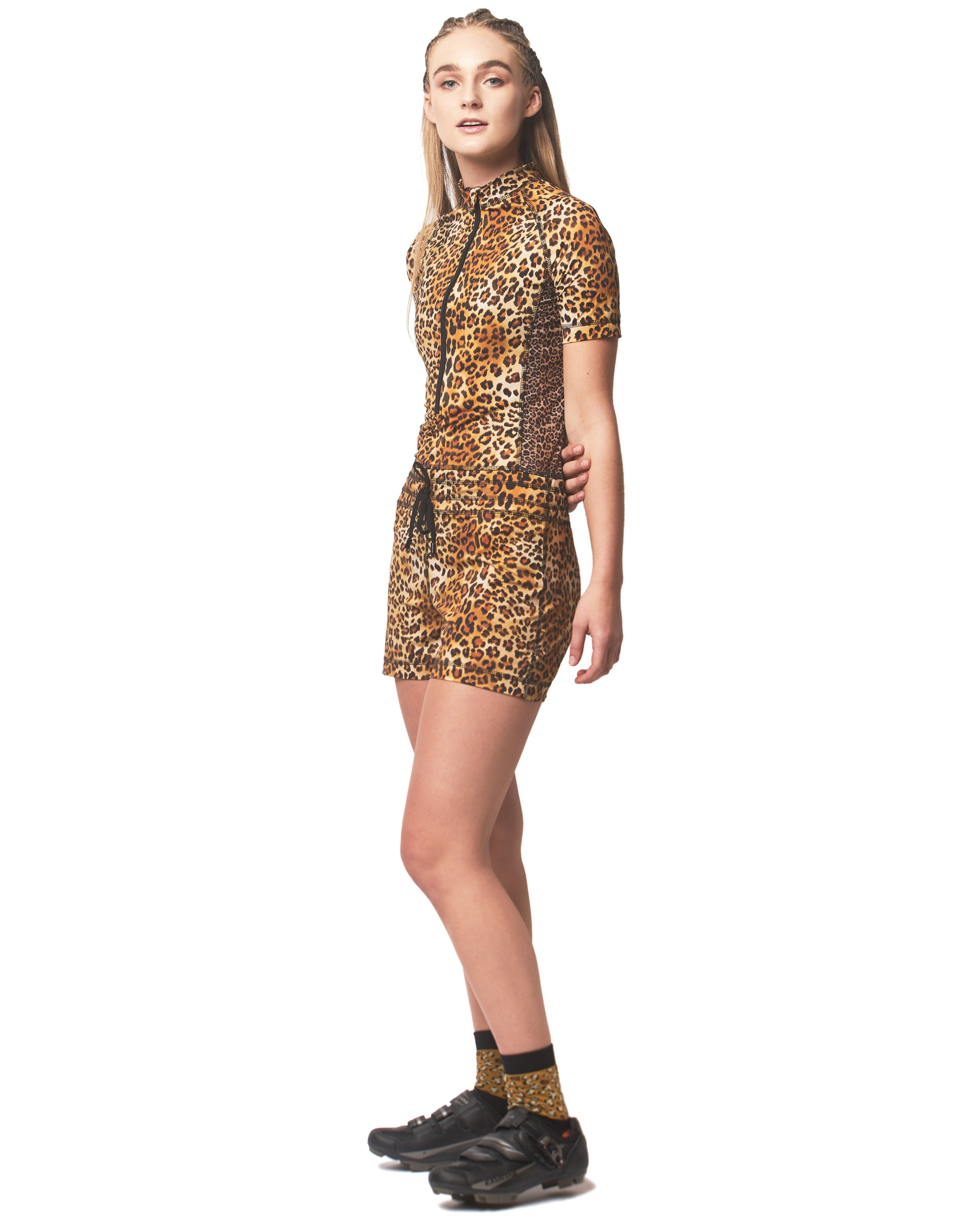 LPRD Signature Leopard Onesie Jumpsuit | Side View Close