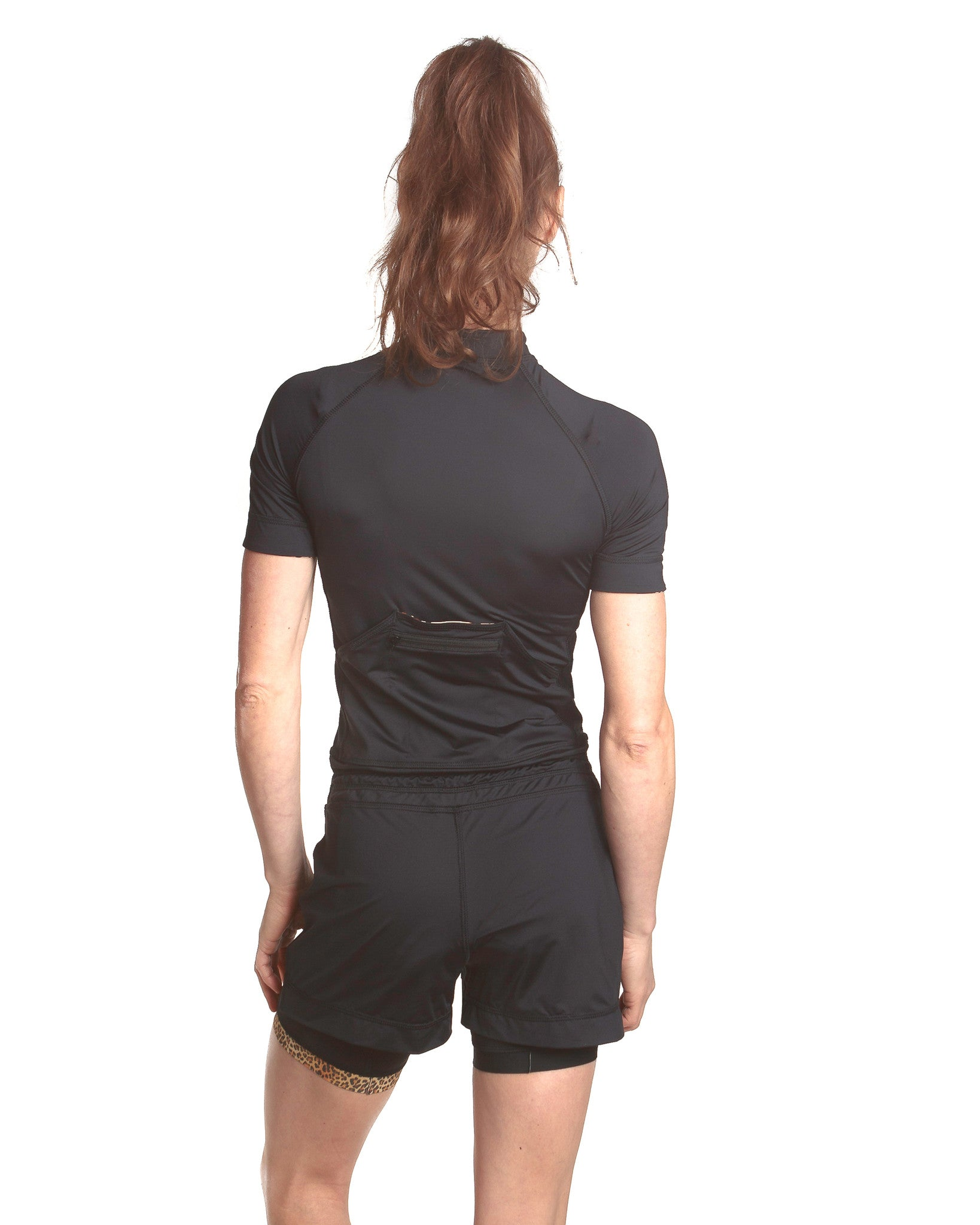 LPRD Black Onesie Jumpsuit | Close-up back view with black cycling shorts