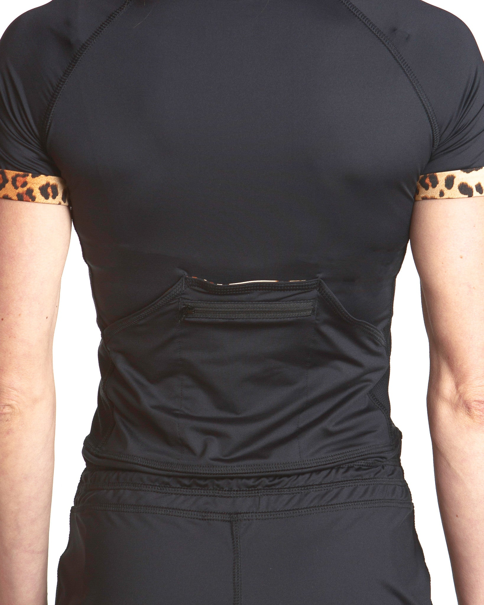 LPRD Black Onesie Jumpsuit | Back detail of zip-pockets and leopard turn-ups