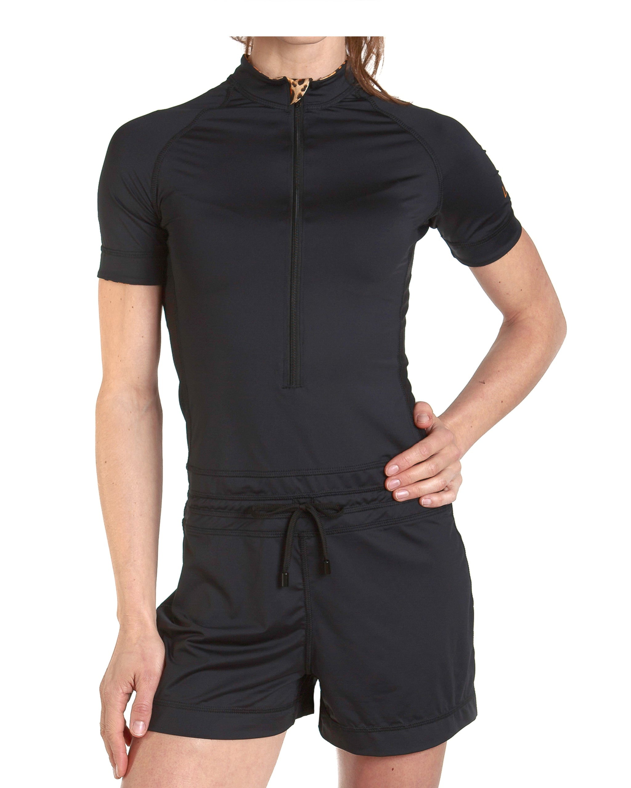 LPRD Black Onesie Jumpsuit | Front View Close