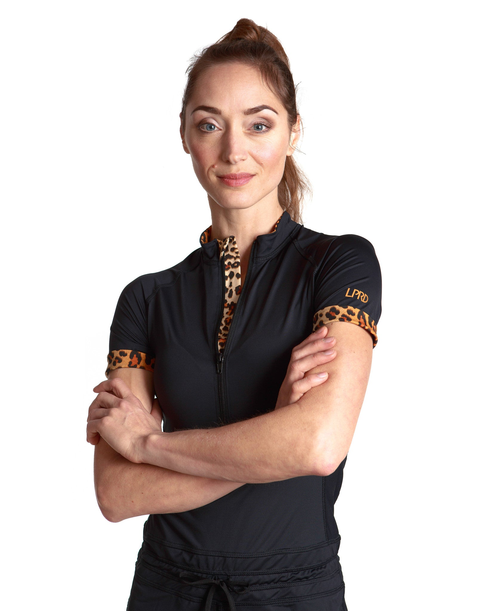 LPRD Black Onesie Jumpsuit | Close-up front view with leopard print details