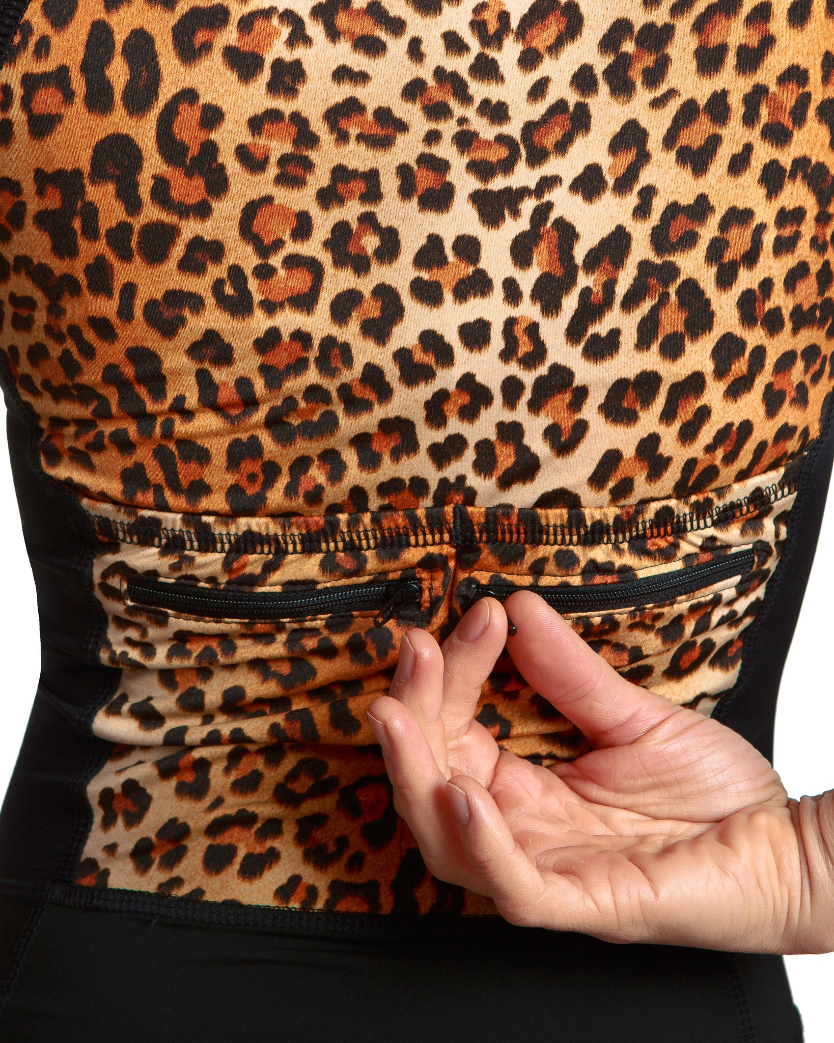 LPRD Leopard Centre Cycling Skinsuit | Back View Detail Zipper Pocket