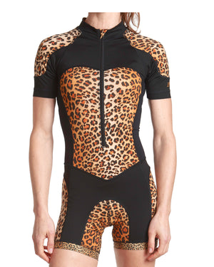 Fasionable cycling leopard print skinsuit