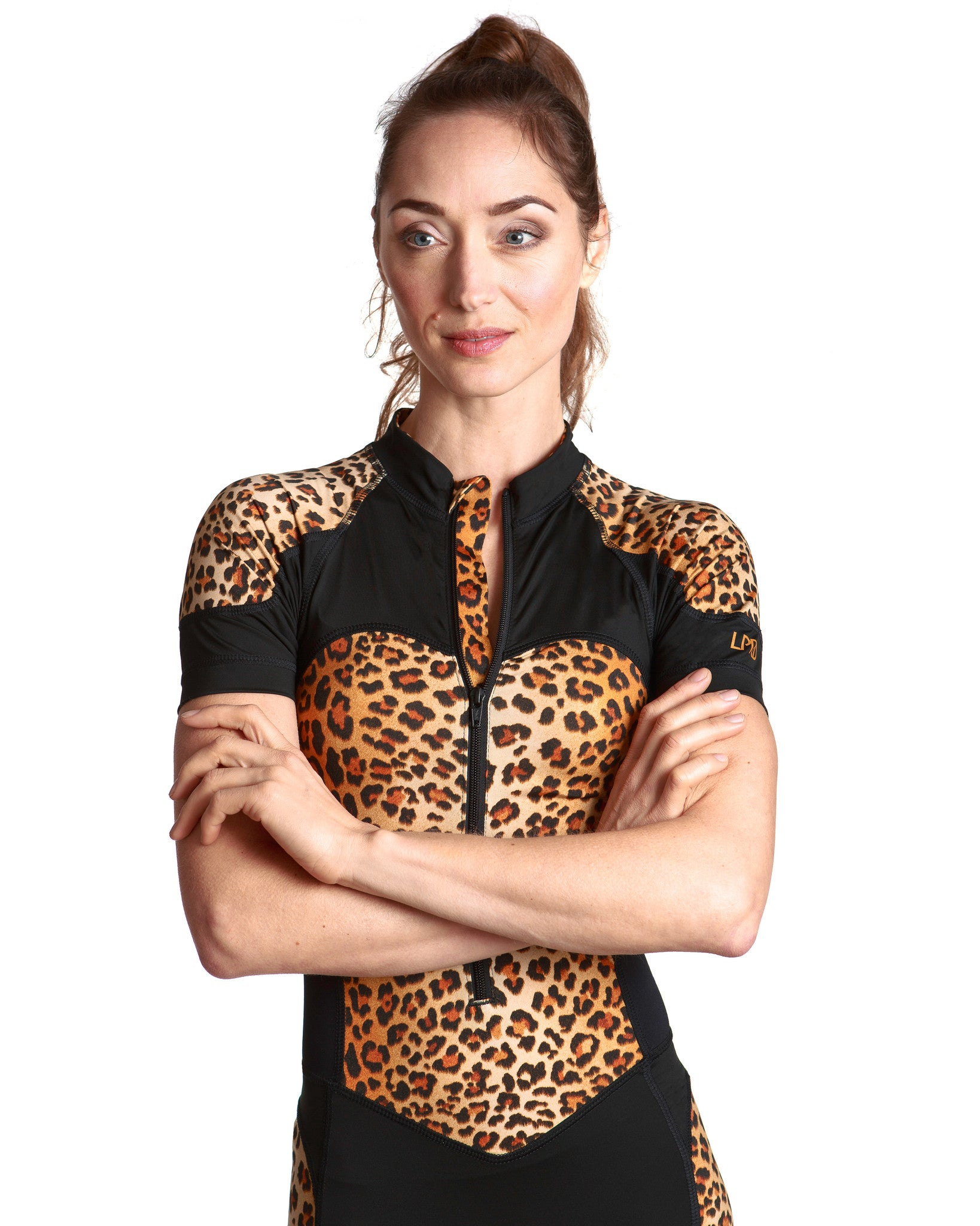 LPRD Leopard Centre Cycling Skinsuit | Close-up Front View Detail Leopard Print Zipper Garage