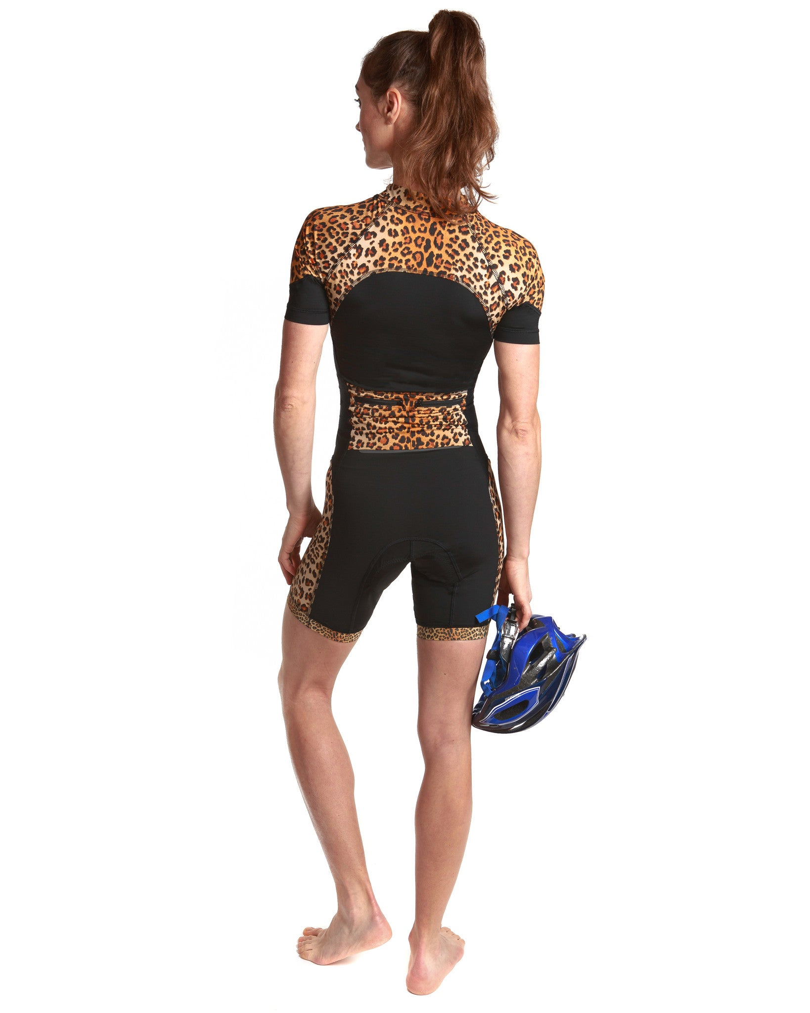 LPRD Black with Leopard Panel Cycling Skinsuit | Back View