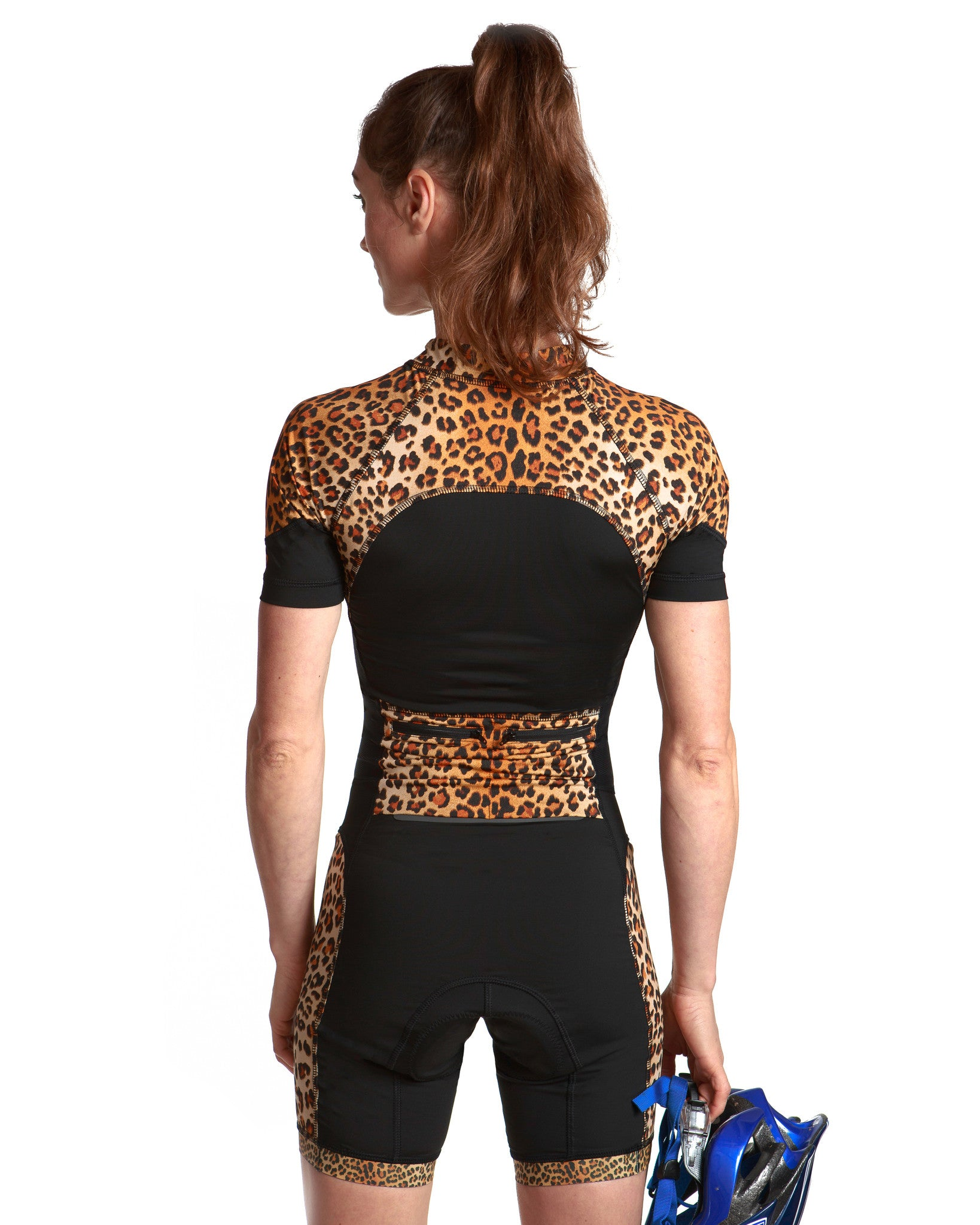 LPRD Black with Leopard Panel Cycling Skinsuit | Close-up Back View