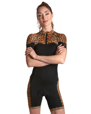 Skinsuit Leopard Panel Cycling | Front View Close