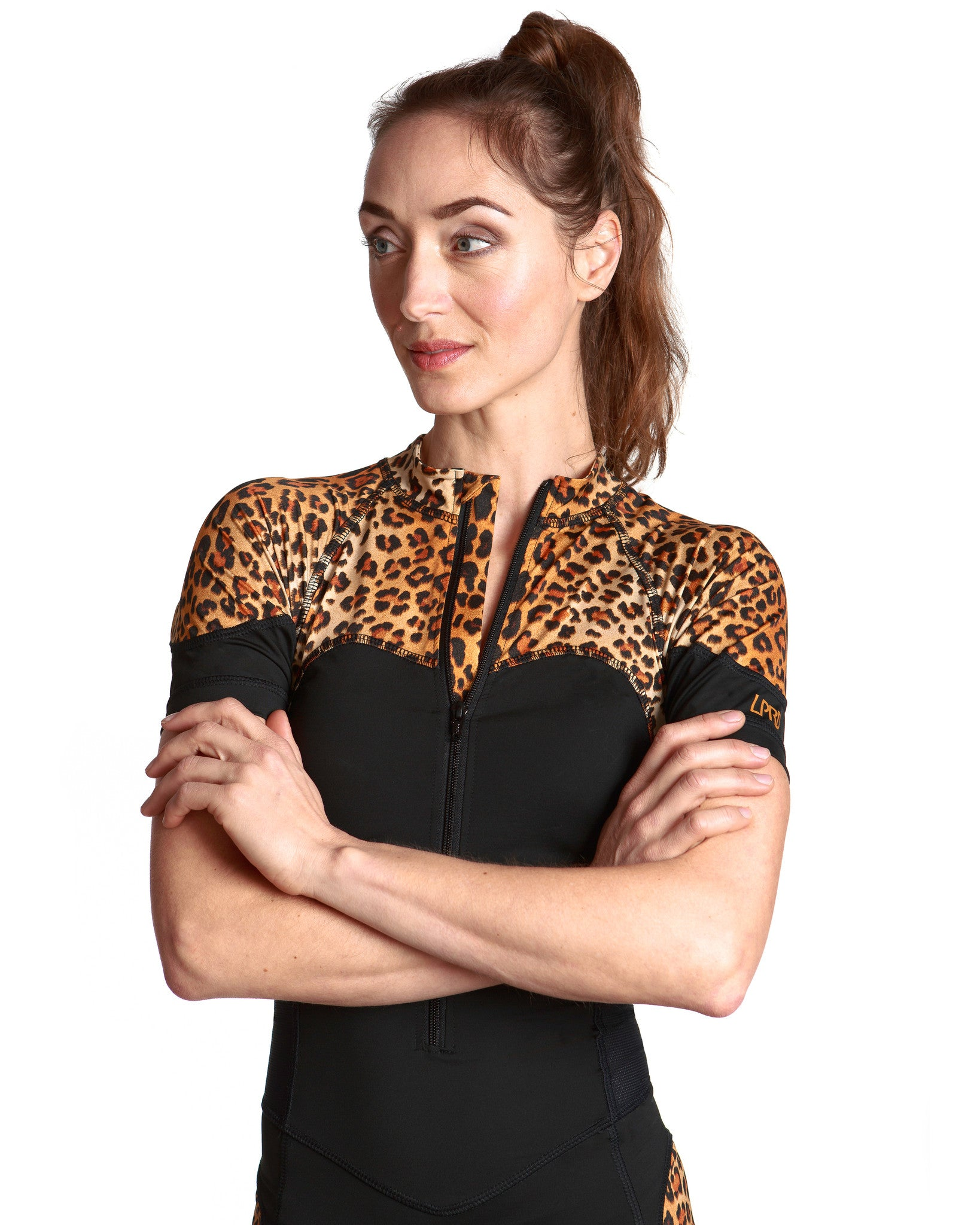LPRD Black with Leopard Panel Cycling Skinsuit | Close-up Front View Zipper Garage Detail