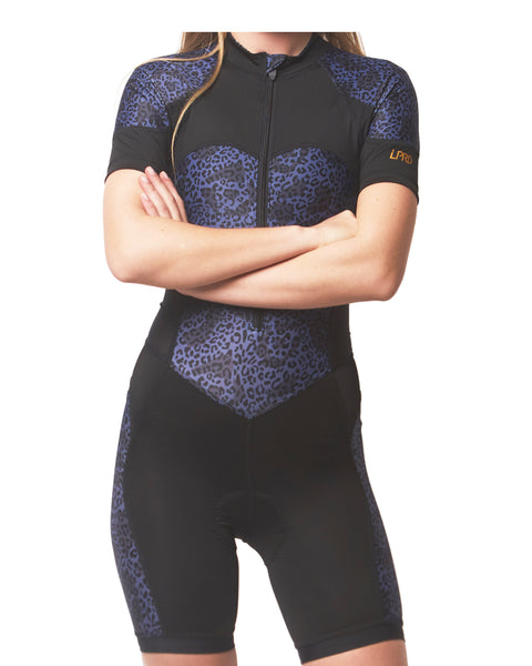 LPRD Midnight Leopard Centre Cycling Skinsuit | Close-up Front View Close
