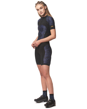 LPRD Midnight black and blue Leopard print Centre Cycling Skinsuit | Close-up Front View Close