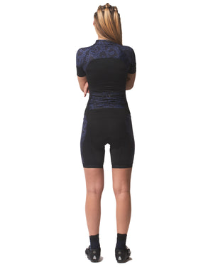 LPRD Midnight Leopard Panel Cycling Skinsuit | Front View Close