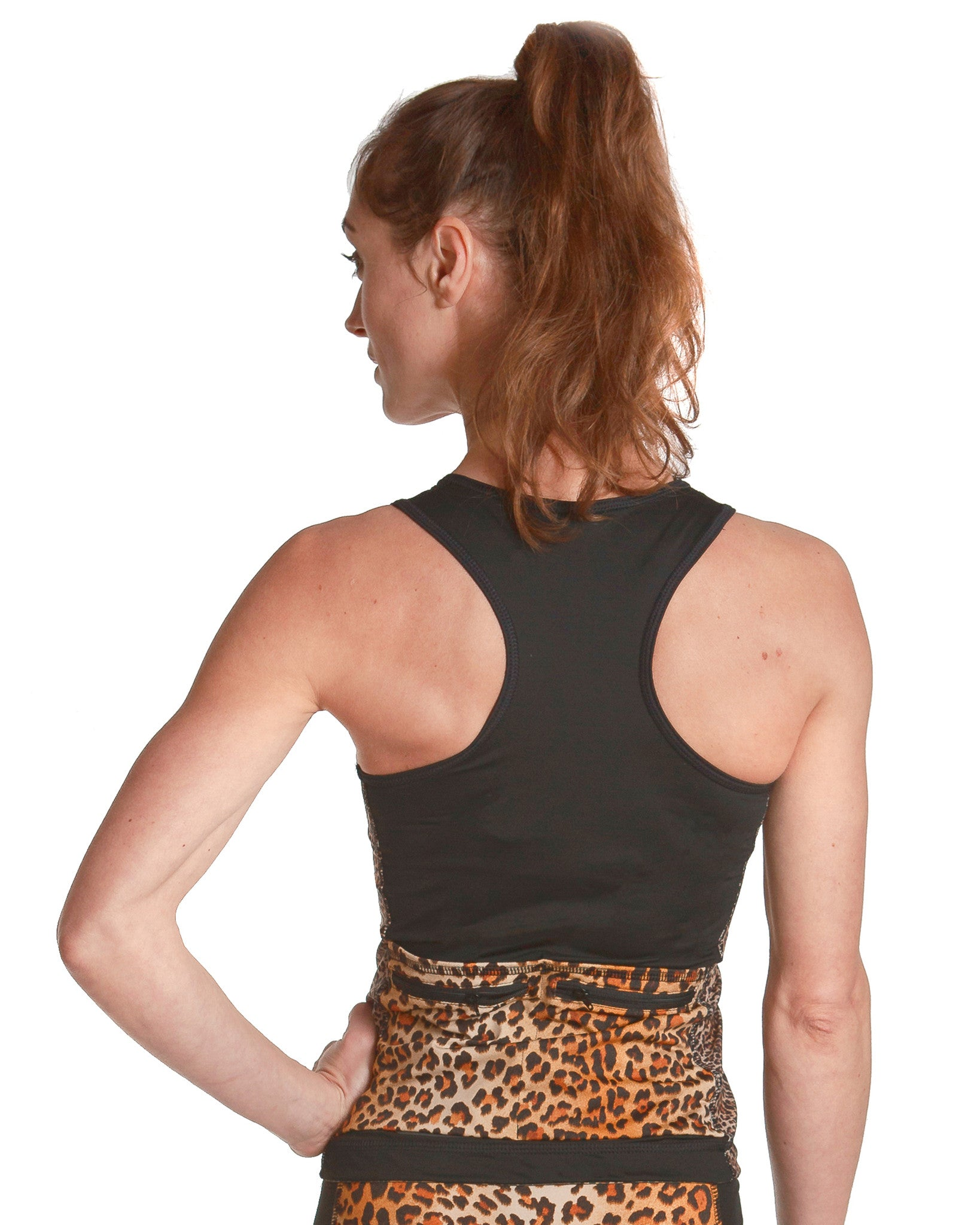 LPRD Black Tank Top Leopard Panel | Close-up Back View Racerback
