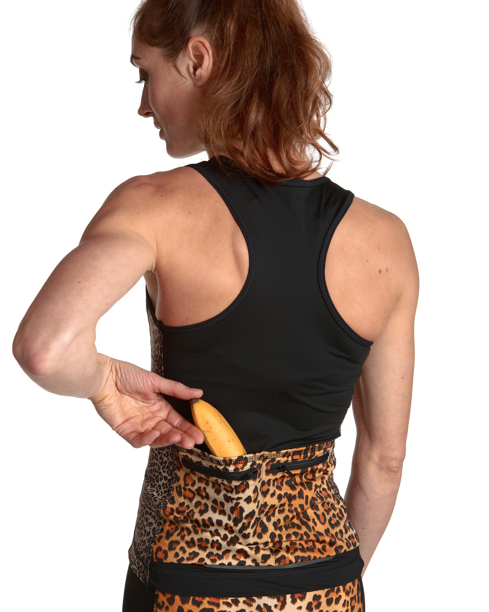 LPRD Black Tank Top Leopard Panel | Back View Detail Pocket With Banana