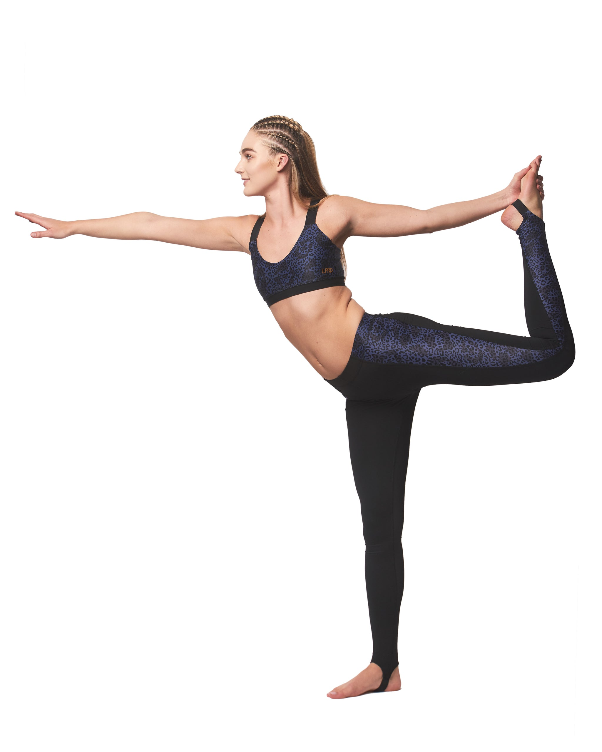LPRD Midnight Leopard Panel Leggings | Yoga Pose