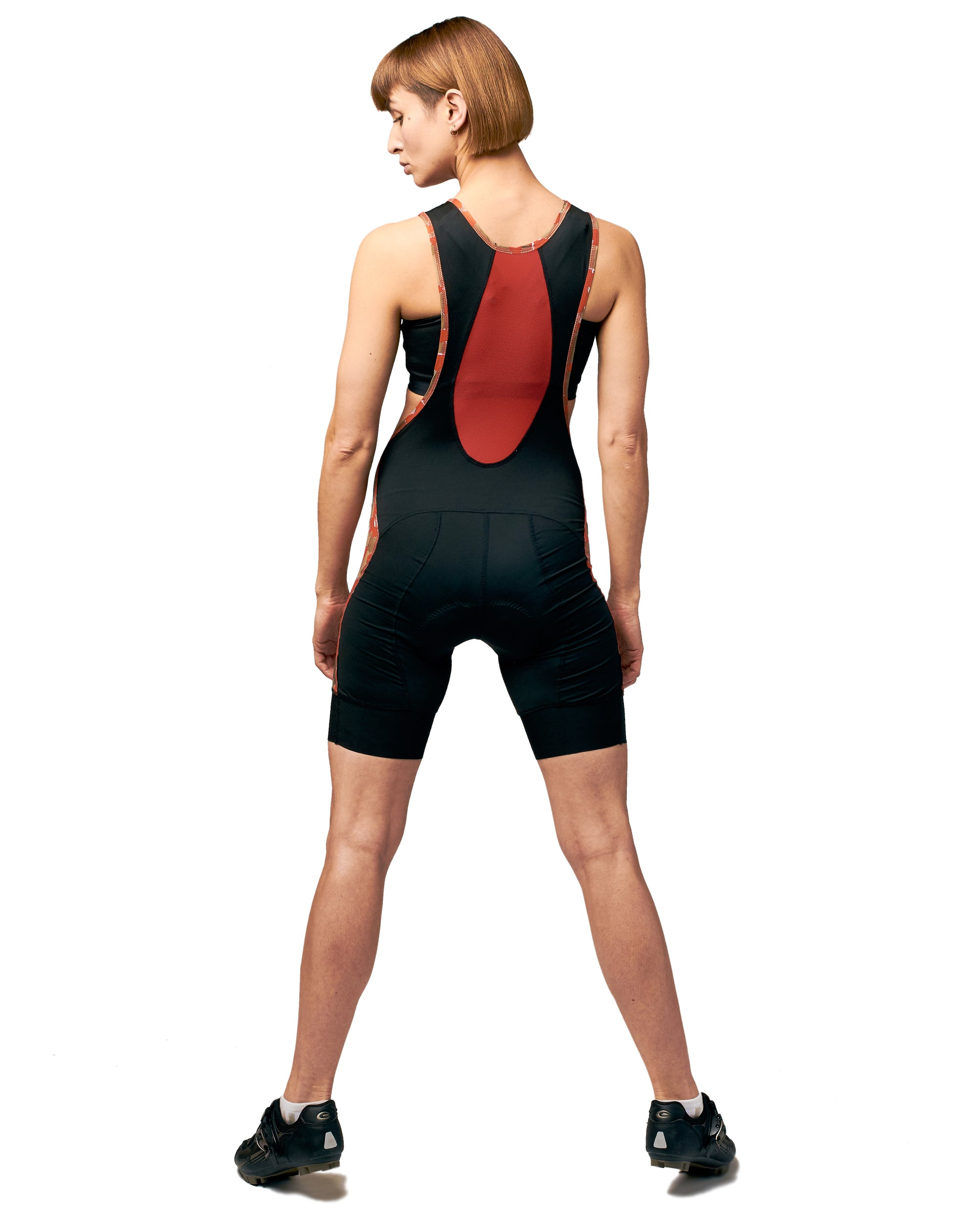 LPRD x SDW bibshorts red - back view