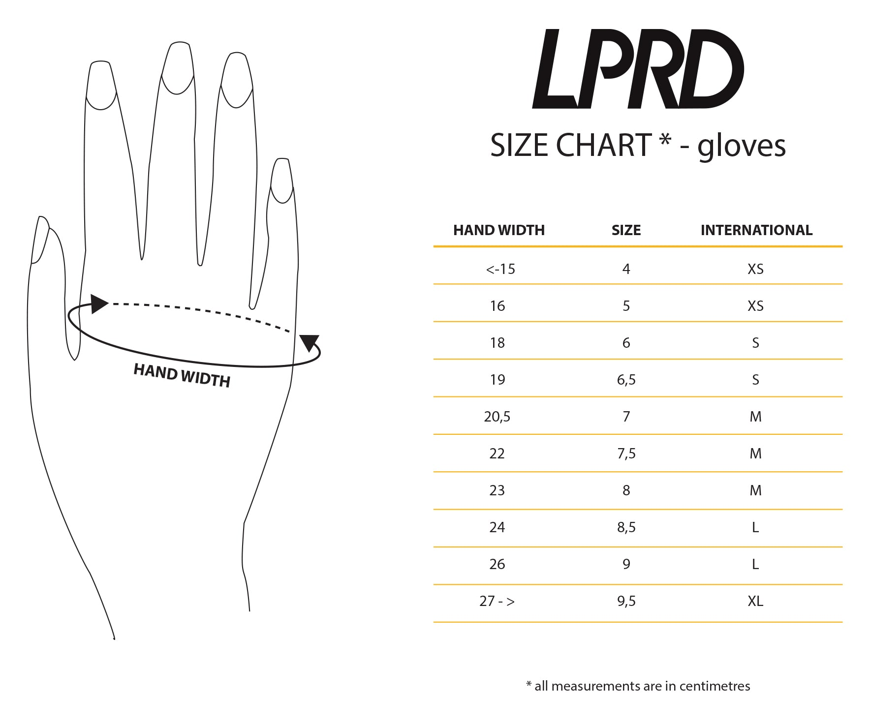 Cycling Gloves Size Chart
