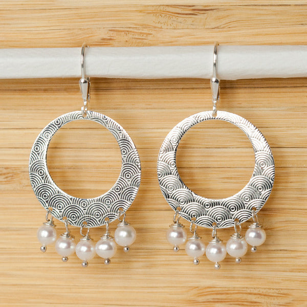 Large Hoop Pearl Earrings - Margie Edwards Jewelry Designs