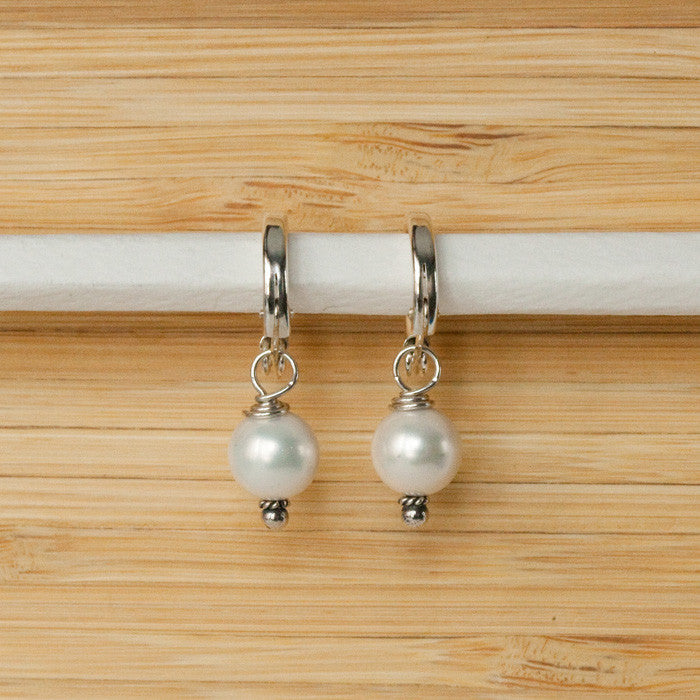 Pearl With Hoop Earrings - Margie Edwards Jewelry Designs