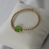 Natural Green Chalcedony Gold Bracelet