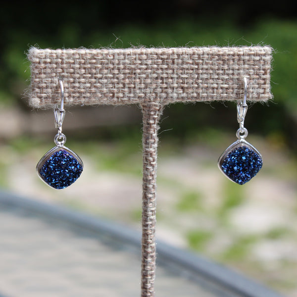 Blue Druzy Diamond Earrings