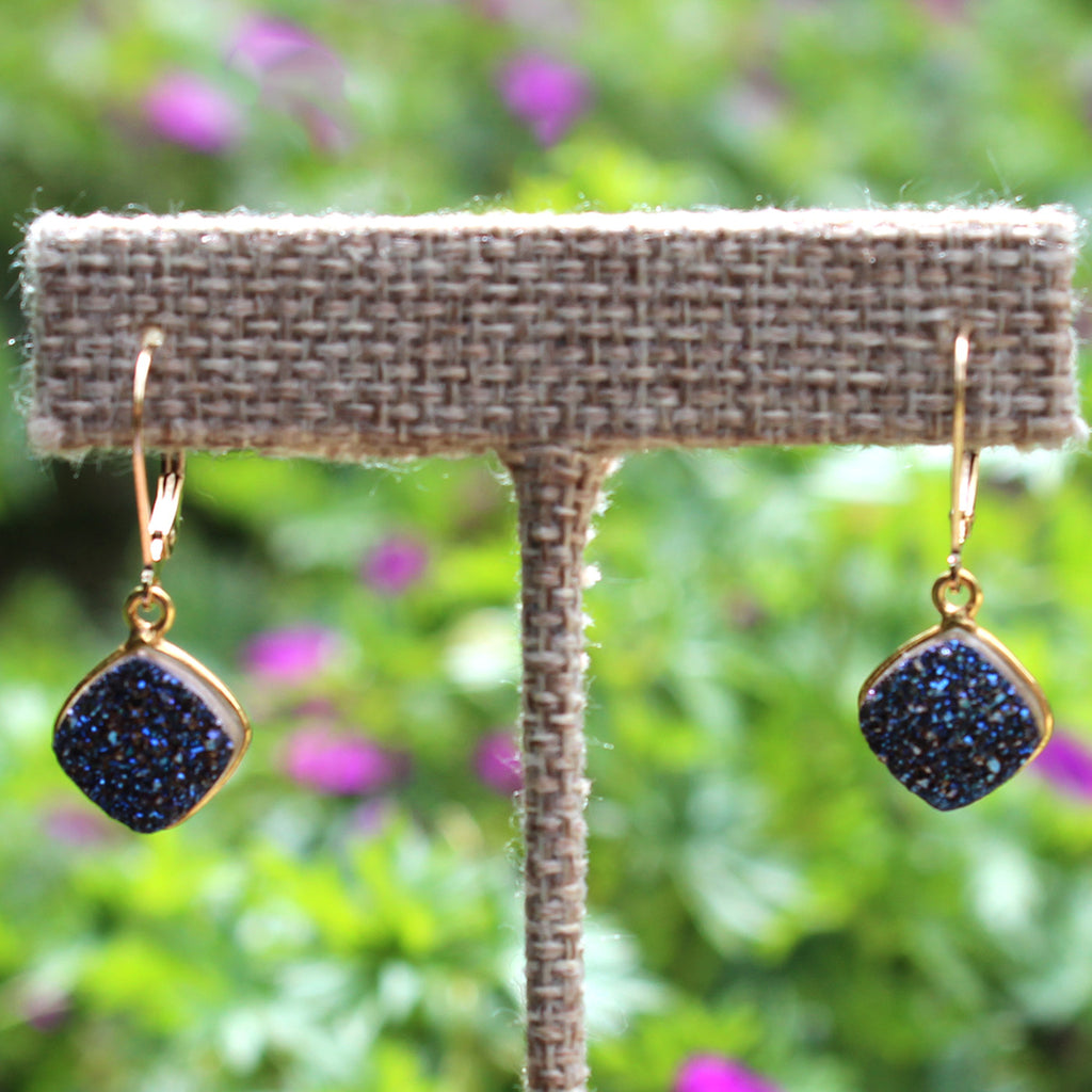 Blue Druzy Gold Earrings