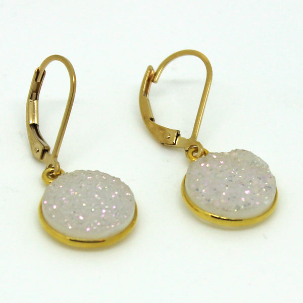 Gold White Druzy Earrings