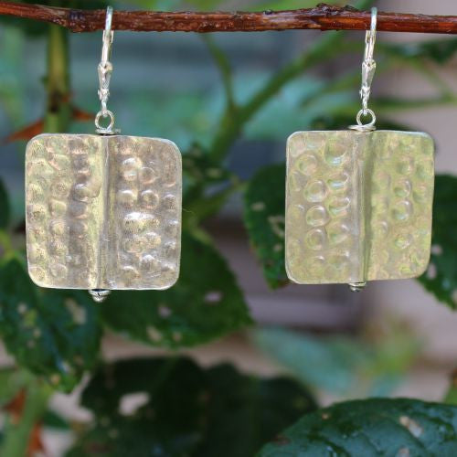 Square Hammered Earrings - Margie Edwards Jewelry Designs