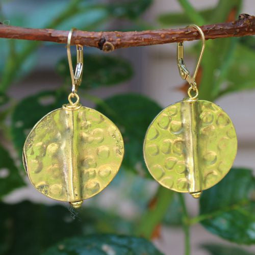Hammered Brass Earrings - Margie Edwards Jewelry Designs