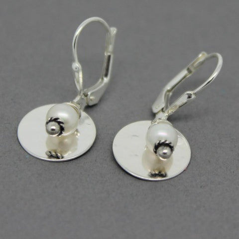 Gold Disc with Bead Earrings - Margie Edwards Jewelry Designs