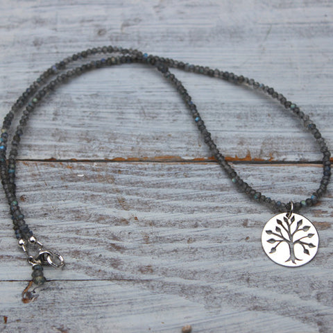 Labradorite Tree of Life Necklace - Margie Edwards Jewelry Designs