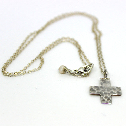 Silver Hammered Cross - Margie Edwards Jewelry Designs