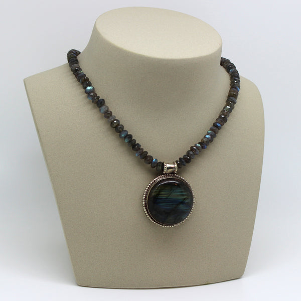 Labradorite Tibetan Pendant - Margie Edwards Jewelry Designs
