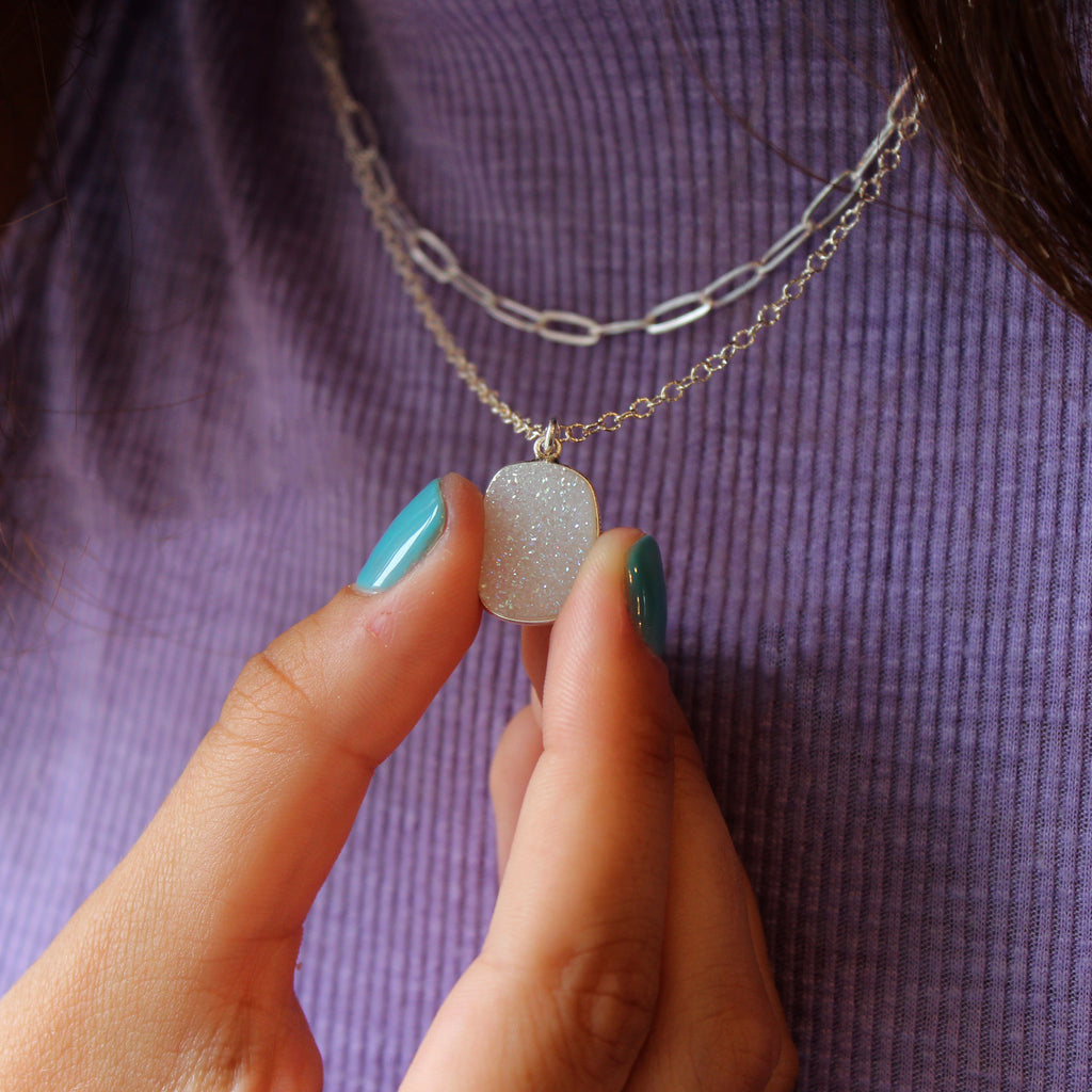 Natural White Druzy Necklace