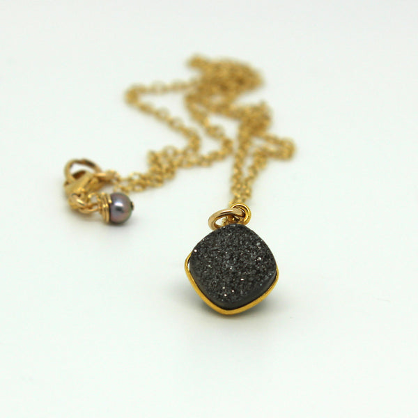 Platinum Druzy Diamond Necklace