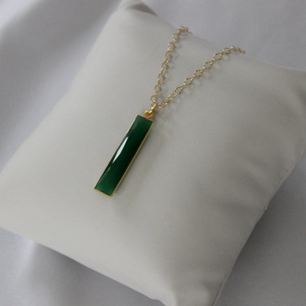 Long Green Garnet Necklace