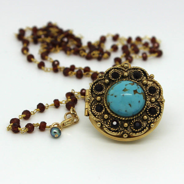 Garnet and Turquoise Locket Necklace