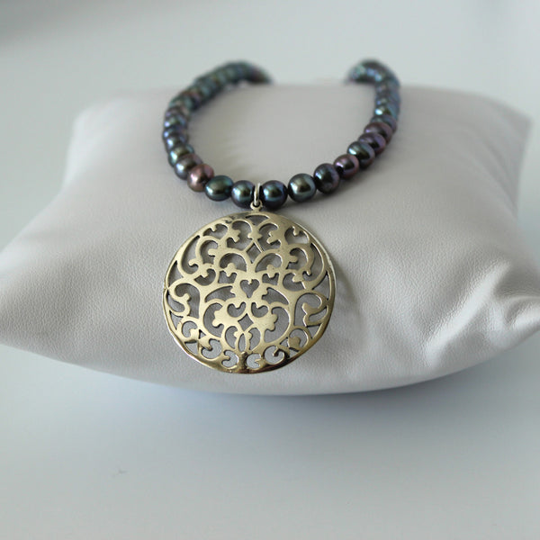 Gray Pearl Filigree Necklace