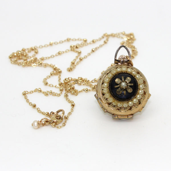 Gold Faux Pearl Locket - Margie Edwards Jewelry Designs