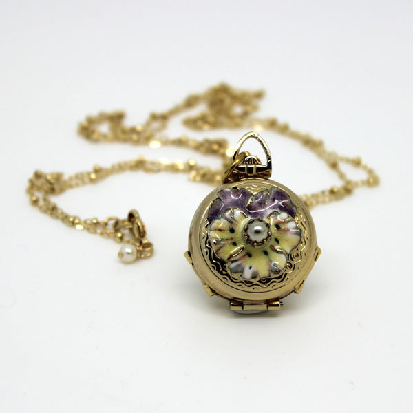 Pansy Locket - Margie Edwards Jewelry Designs