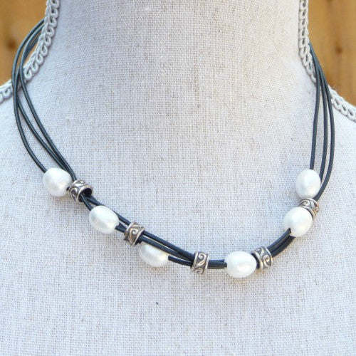 Leather Pearl Necklace - Margie Edwards Jewelry Designs