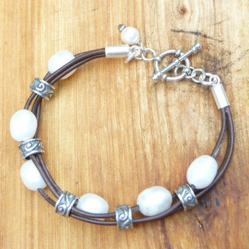 Leather Pearl Bracelets - Margie Edwards Jewelry Designs