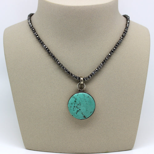 Tibetan Turquoise Pendant - Margie Edwards Jewelry Designs