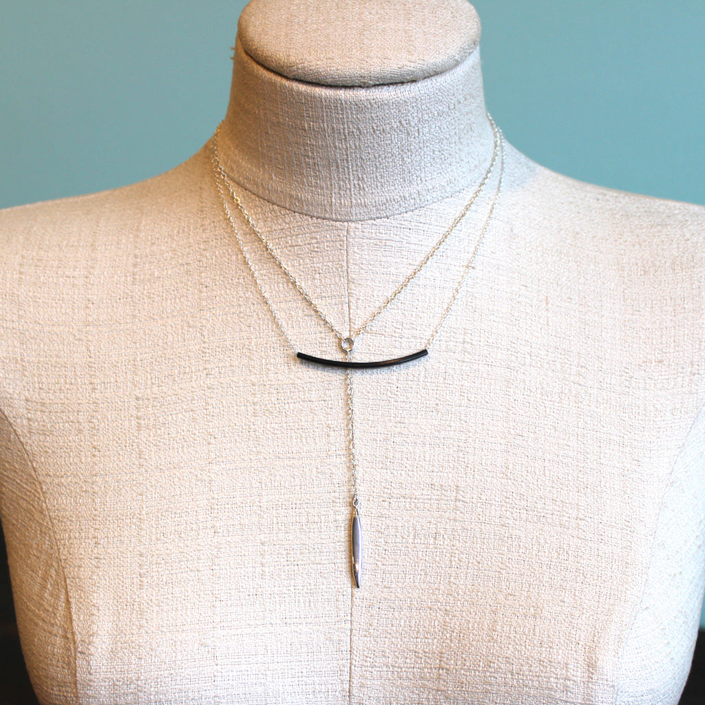 Oxidized Bar Necklace