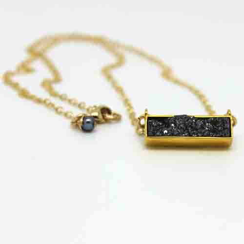 Druzy Bar Necklace - Margie Edwards Jewelry Designs