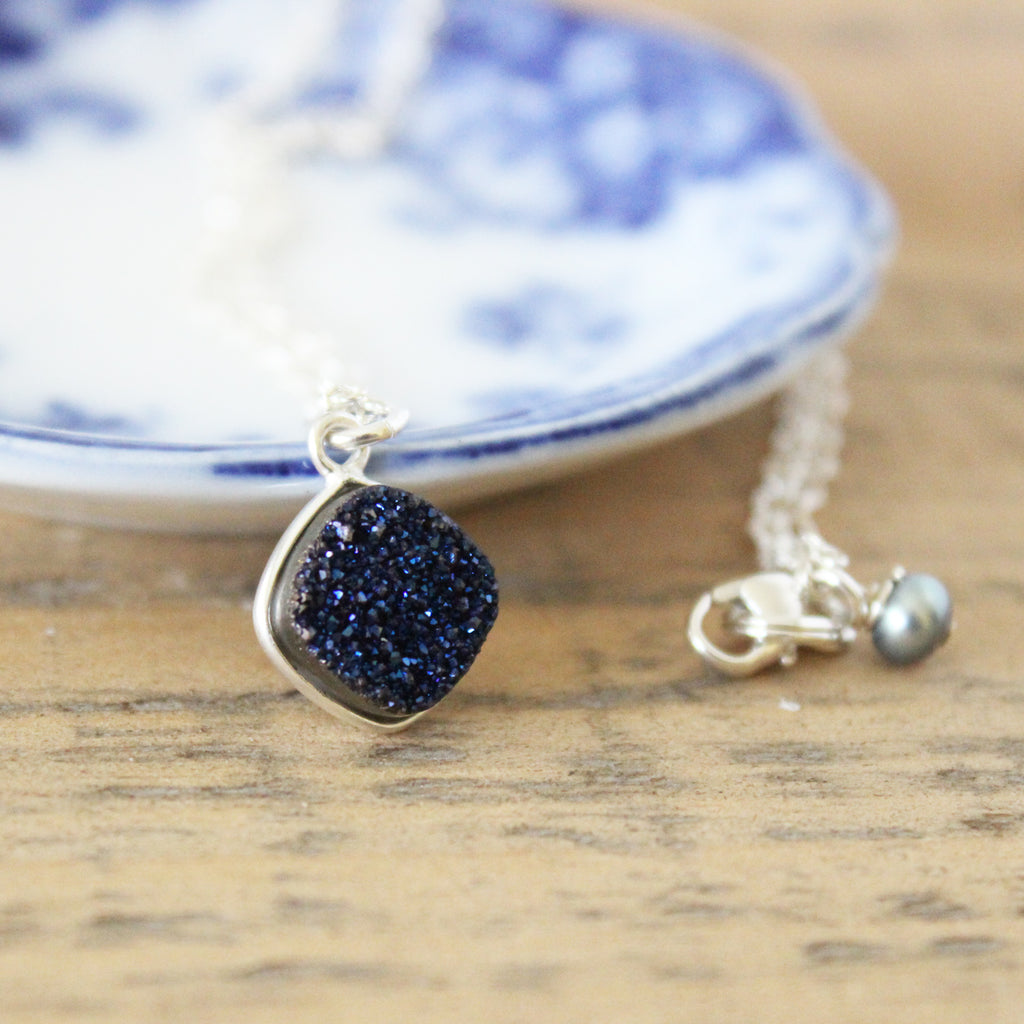 Blue Silver Druzy Necklace