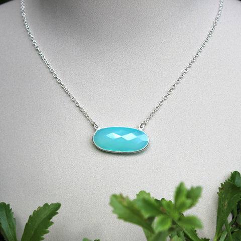 Oval Chalcedony Necklace - Margie Edwards Jewelry Designs