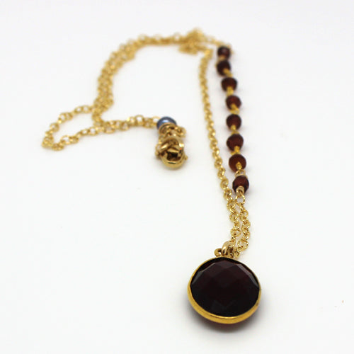 Gold Garnet Necklace - Margie Edwards Jewelry Designs