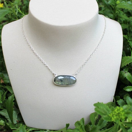 Oval Labradorite Necklace - Margie Edwards Jewelry Designs