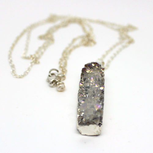 Long Silver AB Druzy Necklace - Margie Edwards Jewelry Designs